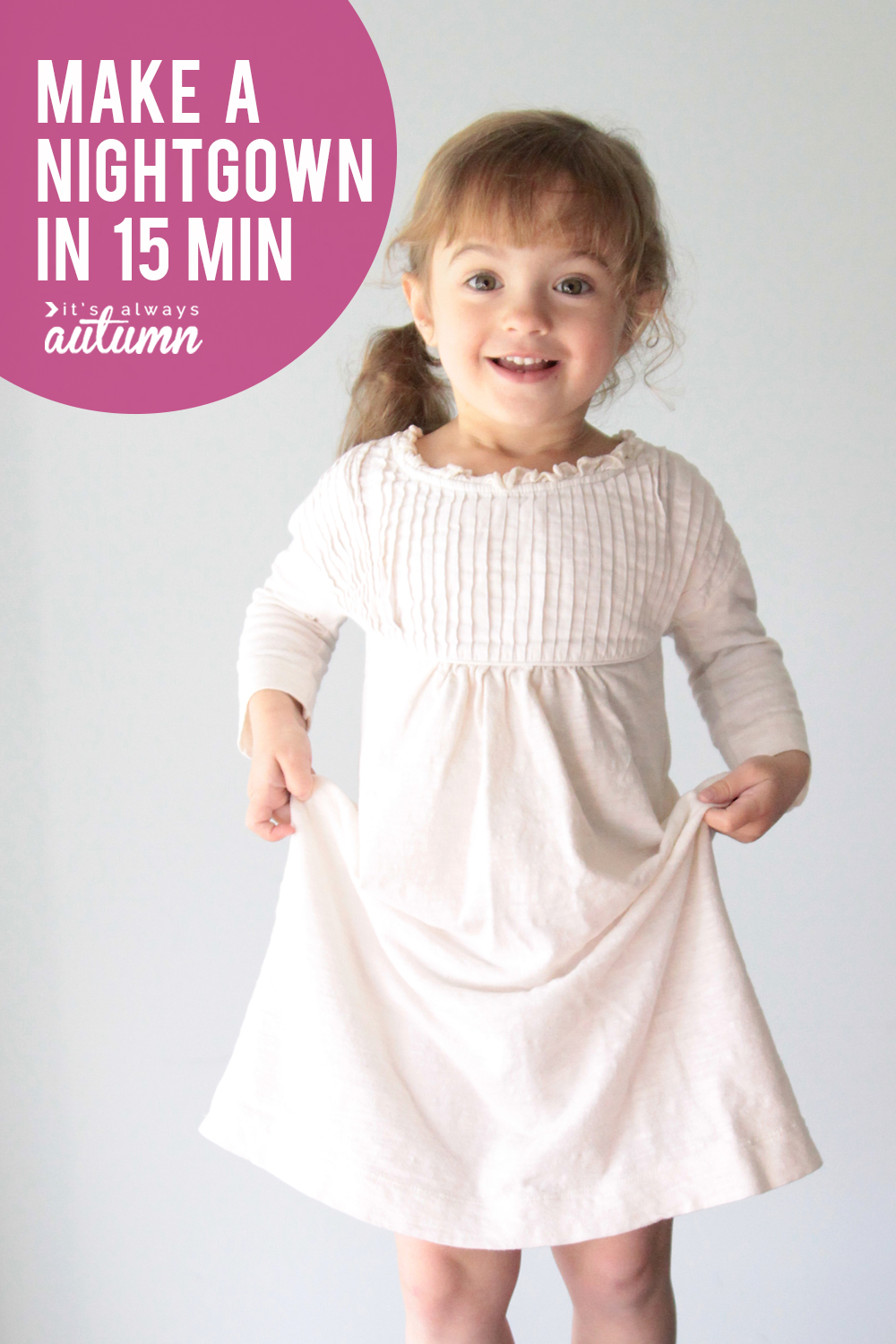 Learn how to make a nightgown in under fifteen minutes starting with an old t-shirt! How to sew pajamas for girls.