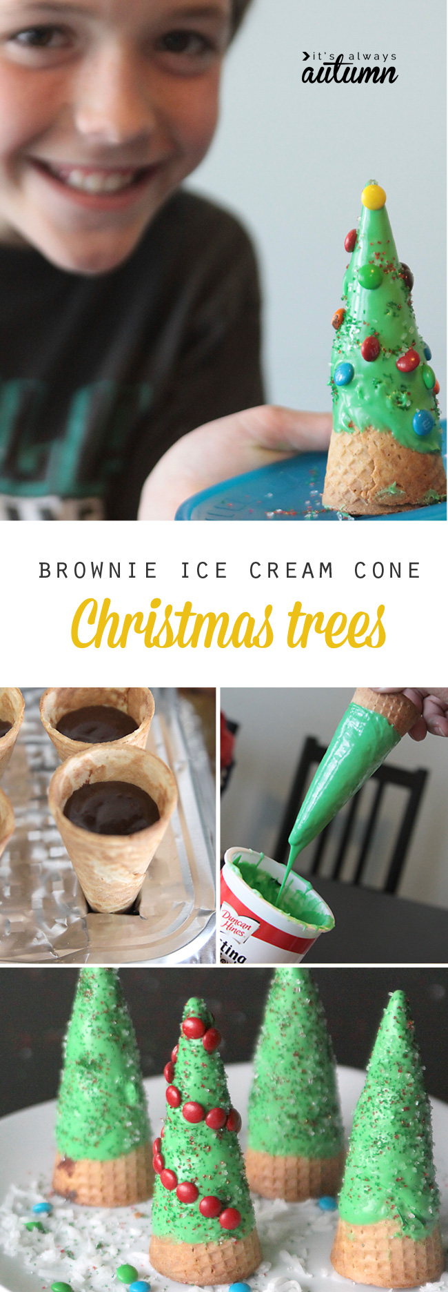 Brownies are baked into ice cream cones, which are decorated like Christmas trees in this fun kids' food craft.