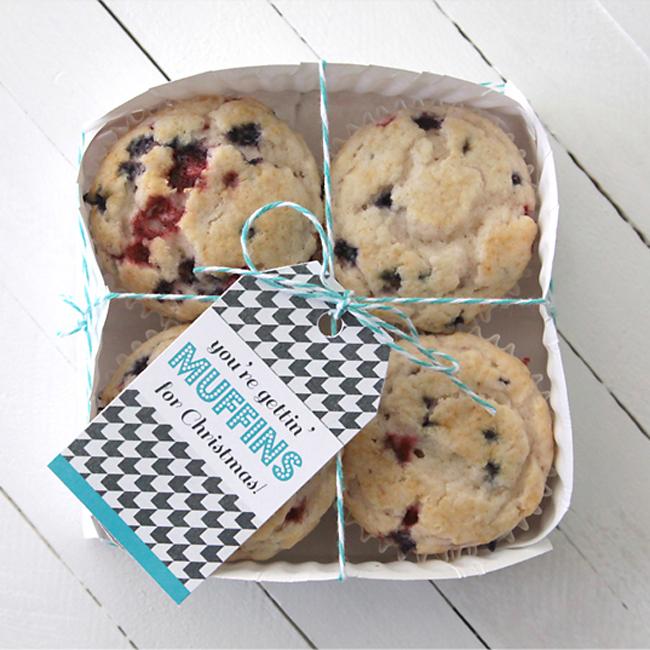 Muffins in a paper plate basket with gift tag