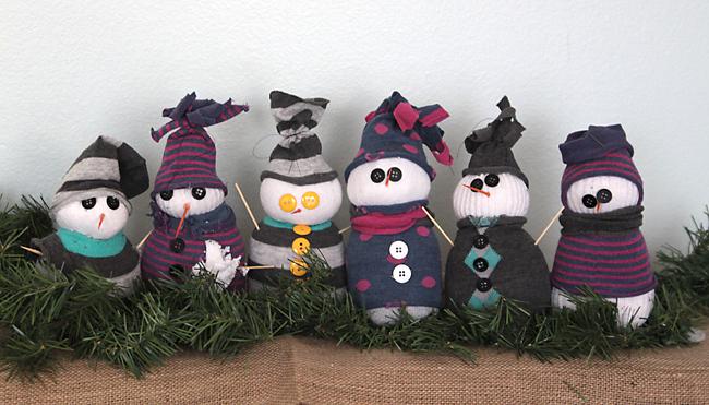 group of DIY sock snowmen