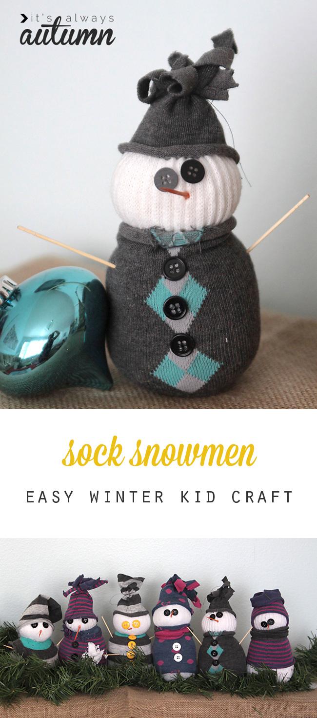 Cute idea to make with the kids over winter break! Sock snowmen: easy winter kids' craft