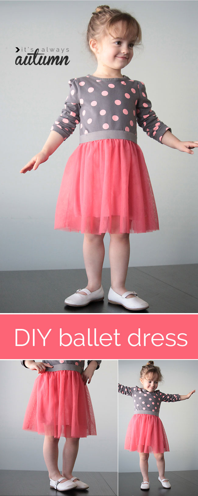 add a tulle skirt to a store bought tee for an adorable ballet dress