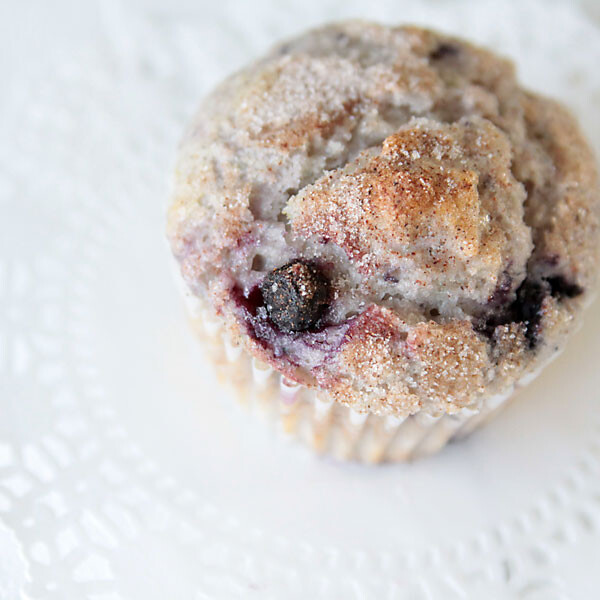 blueberry muffin with cinnamon on top