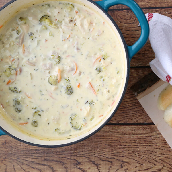 Creamy chicken and rice soup in a pot