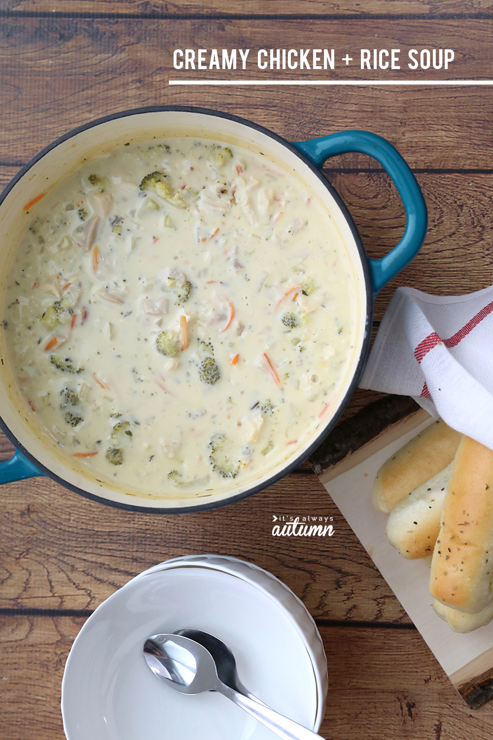 This creamy chicken and rice soup is divine! It's comfort food at it's finest AND very reasonable calorie wise!