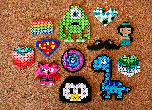 Various characters made from Perler beads