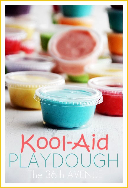 Homemade Kool-aid playdough in small containers