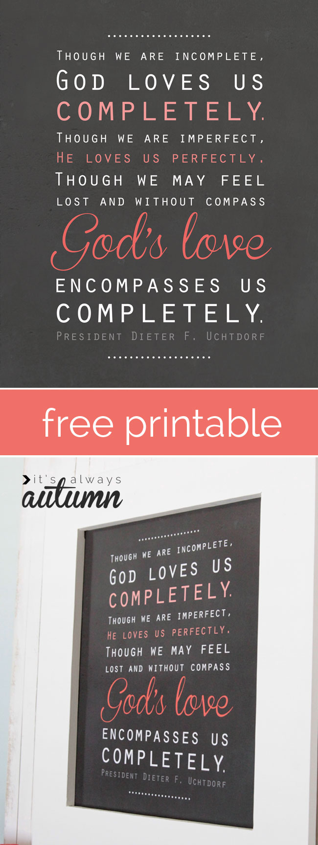free lds mormon quote printable about God's love