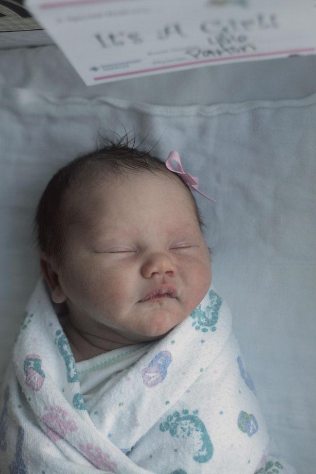 Closeup of newborn baby girl in a bassinet
