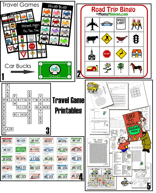 Travel game printables like travel bingo and crosswords