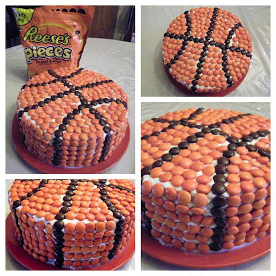 Easy basketball birthday cake decorated with Reeses pieces
