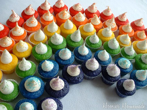 Cupcakes in rainbow colors arranged to look like a rainbow for an easy birthday cake