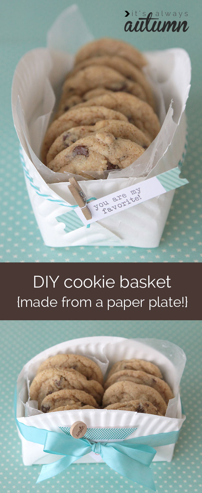 DIY cookie basket made from folded paper plate