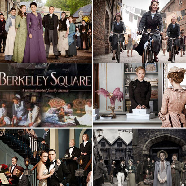 Collage of photos from period movies like Downton Abbey