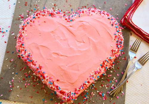 Heart shaped cake with sprinkles