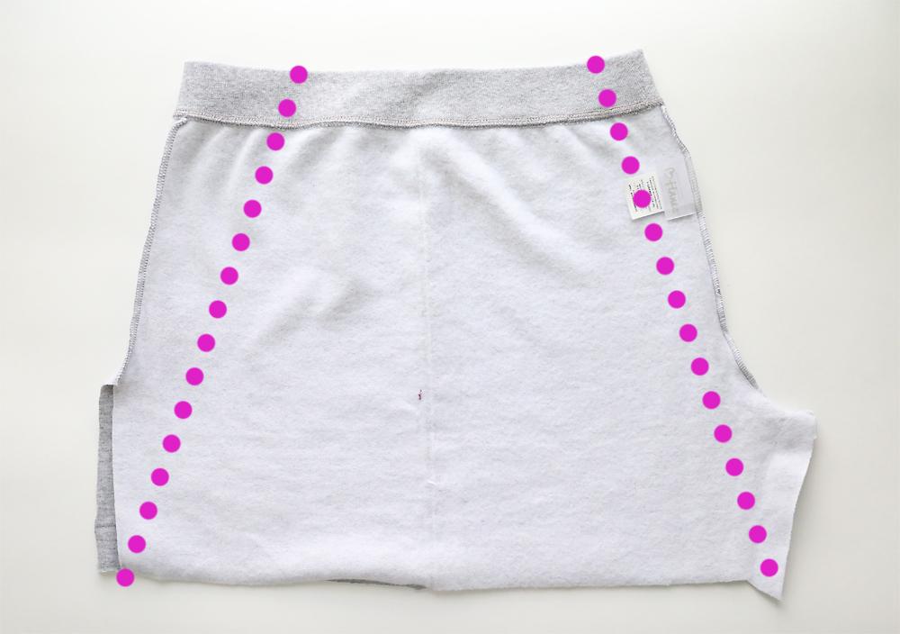 Cut off sweatpants marked in A-line shape