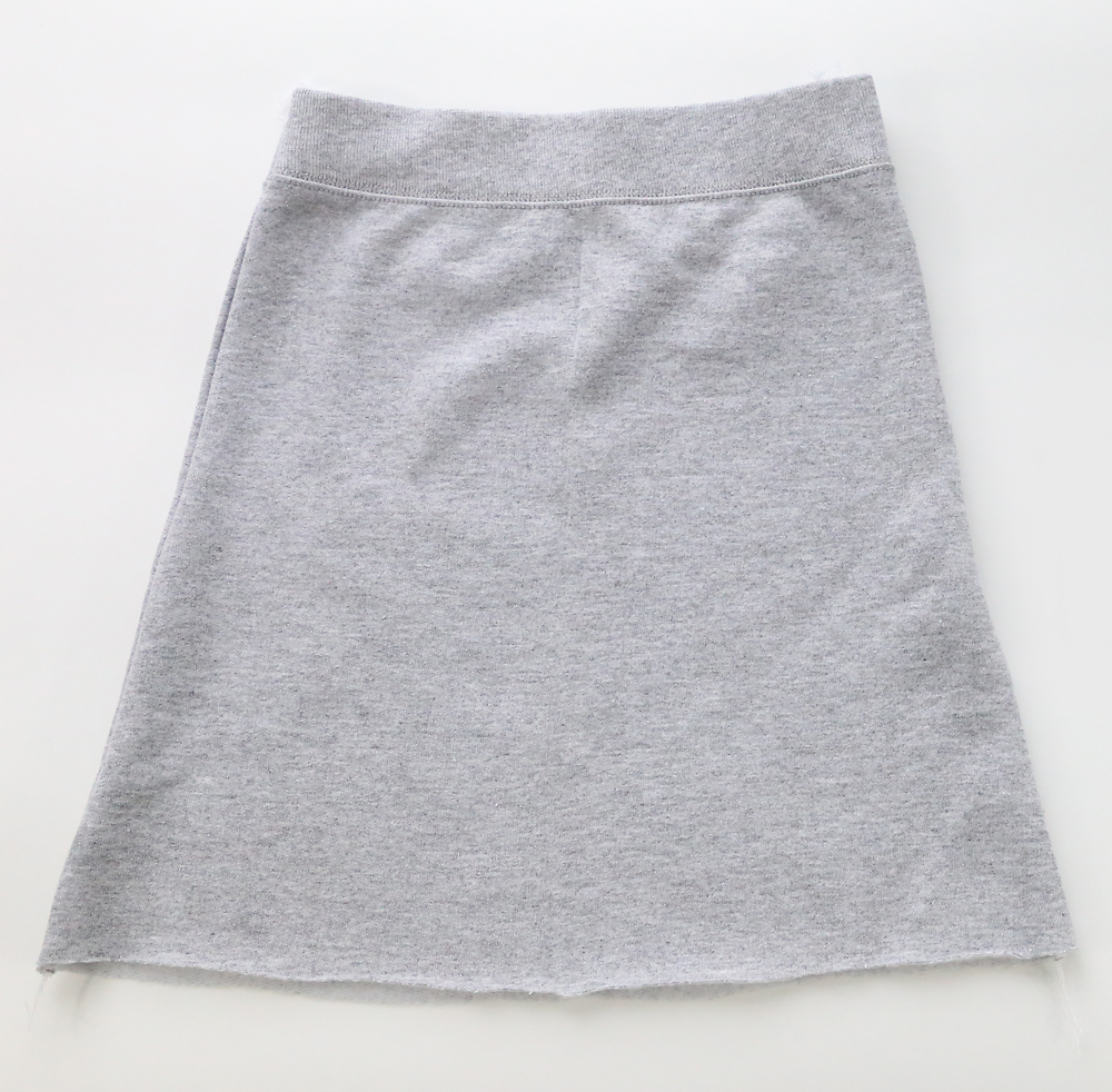 Skirt sewn down the sides in A-line shape