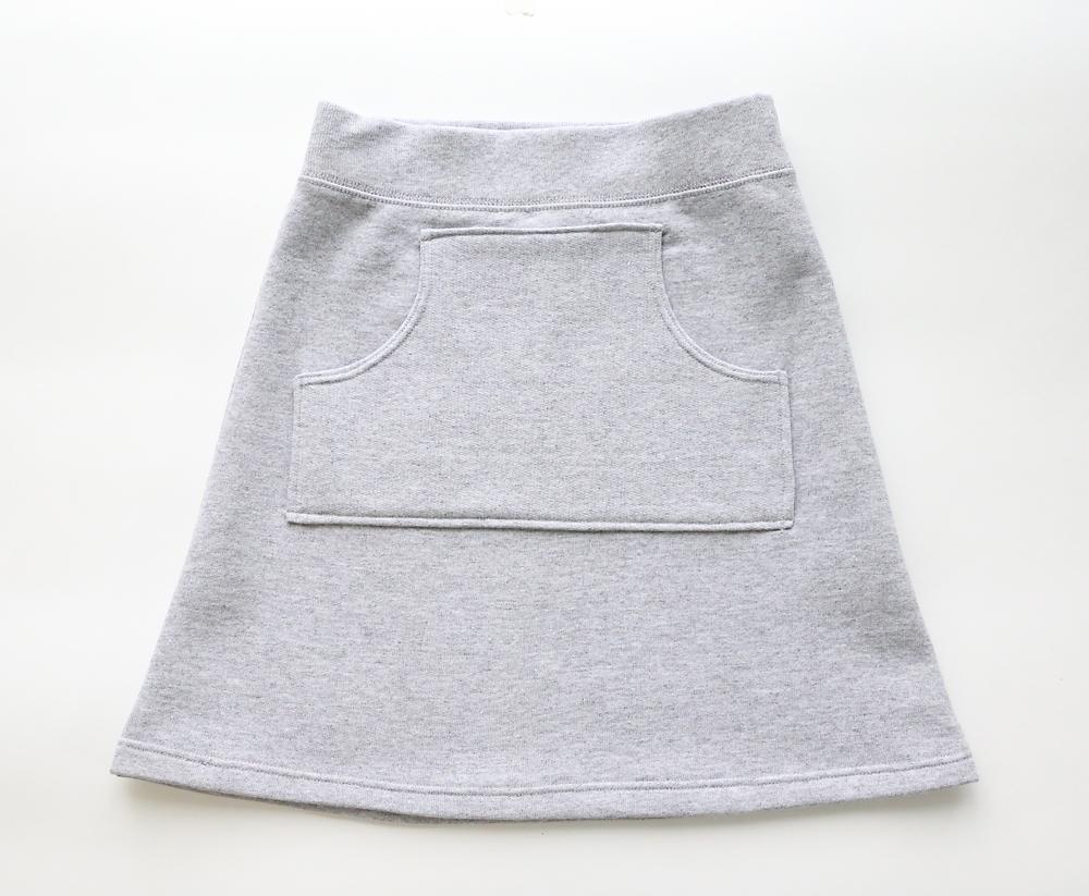 Finished sweatpant skirt