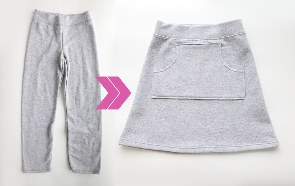 So cute! Take a pair of old sweats and turn them into an adorable sweatpant skirt! Easy sewing tutorial.