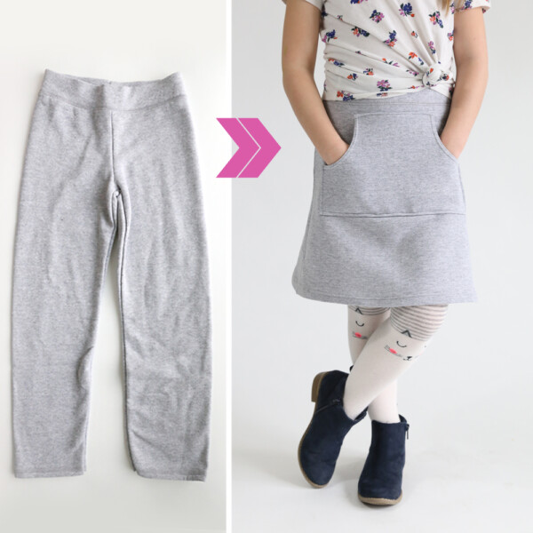 Girl wearing skirt with a kangaroo pocket that was made from a pair of sweatpants