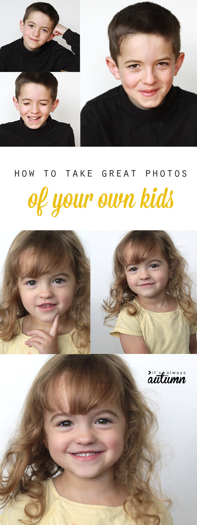 don't waste money on so-so school portraits when you can learn to take better photos of your own kids in your own home!
