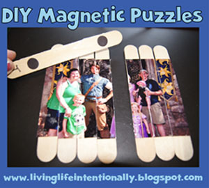 A family photo that\'s been cut up and glue onto popsicle sitcks to make a magnetic puzzle