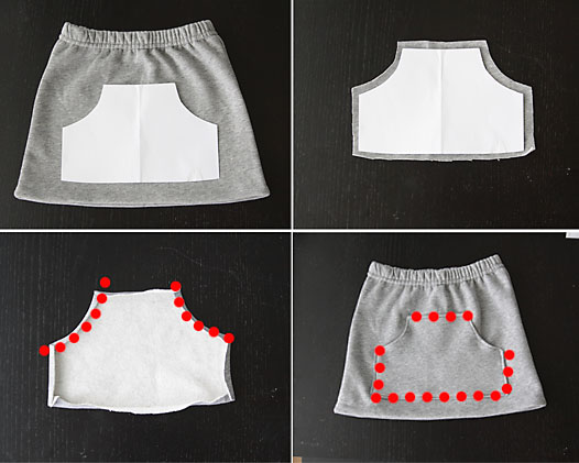 upcycle a pair of sweatpants into a cute kangaroo pocket skirt