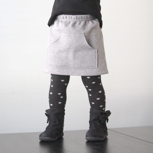 Girl wearing a sweatpant skirt