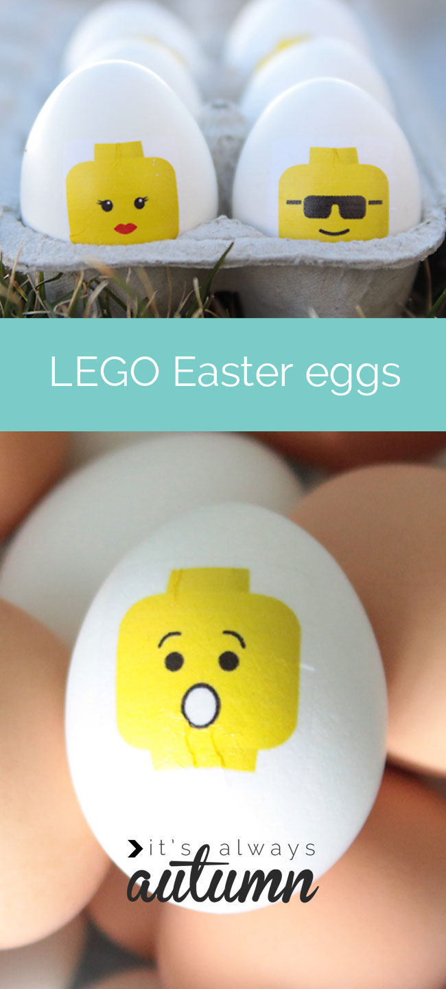 Easter eggs decorated with yellow lego minifigs