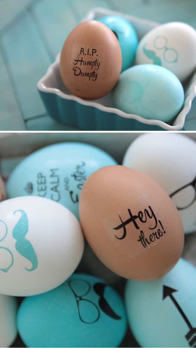 Hipster decorated Easter eggs