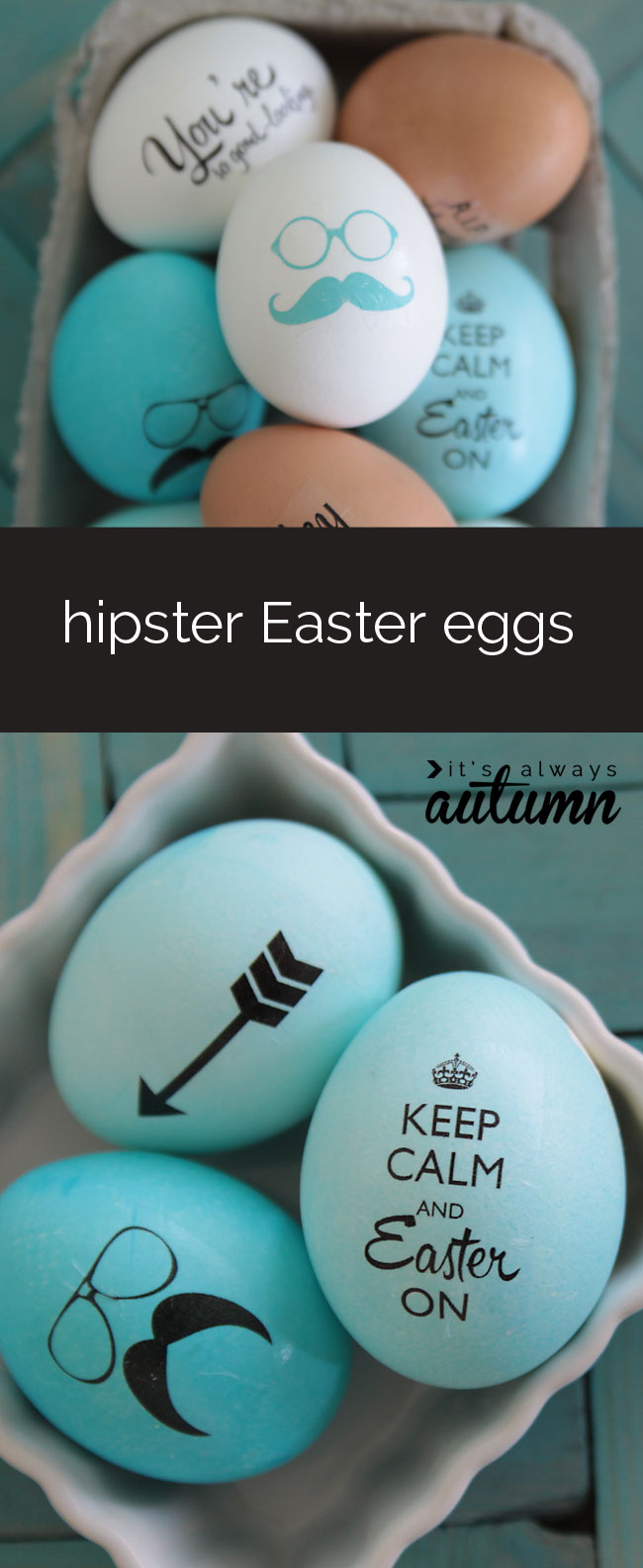 decorated blue and brown hipster Easter eggs