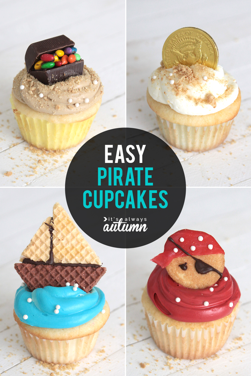 Easy pirate cupcakes! Learn how to make a treasure chest cupcake, pirate ship cupcake, gold dubloon cupcake, and pirate cupcake, all with real frosting (no fondant).