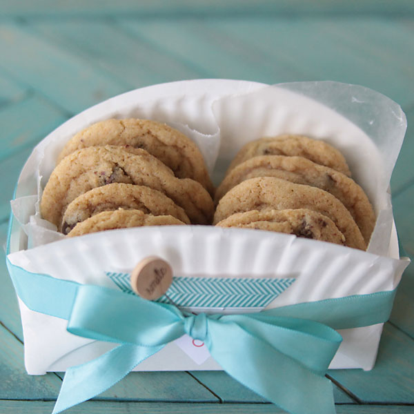 easy DIY cookie basket made from a paper plate