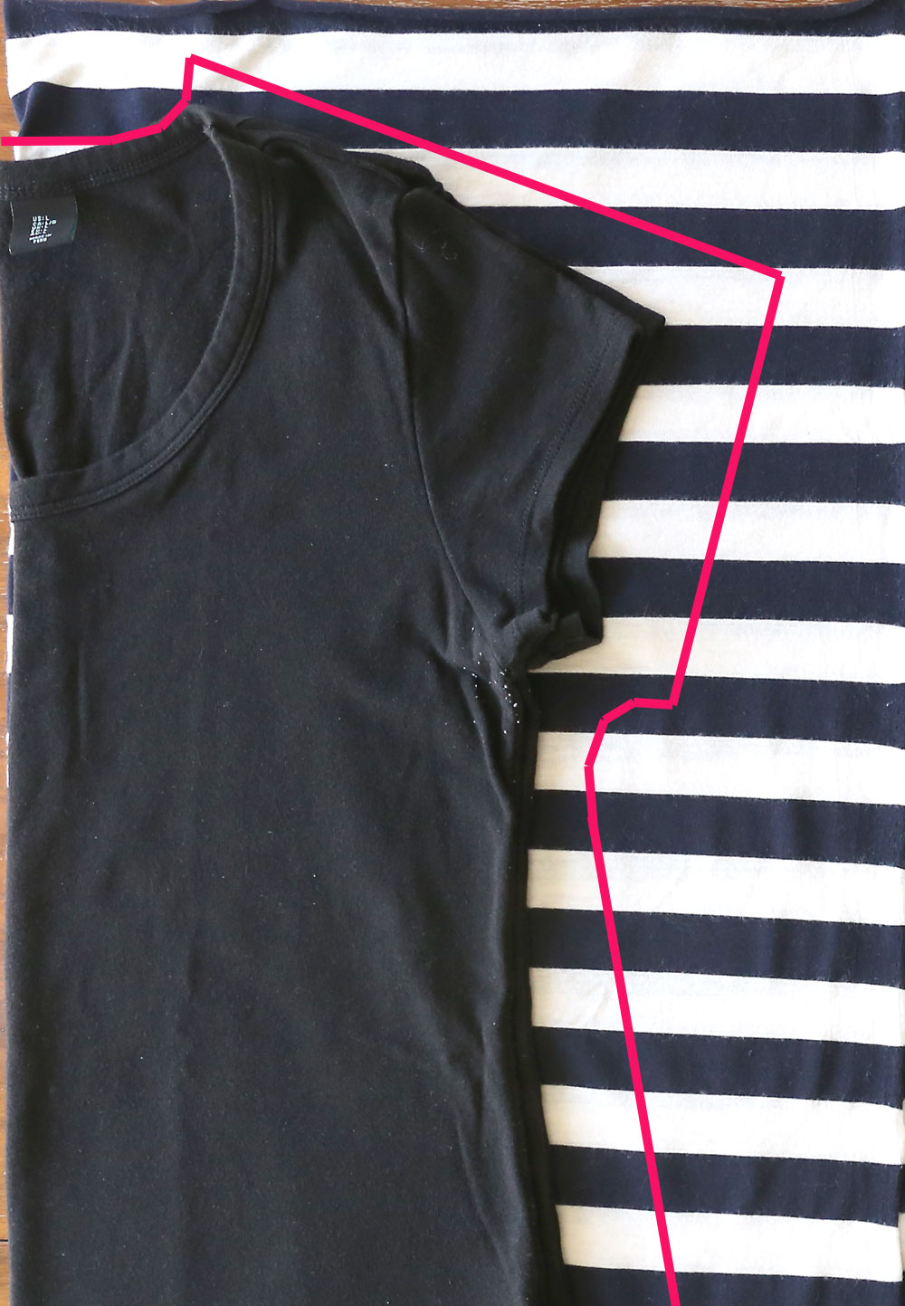 Tracing around a t-shirt onto fabric