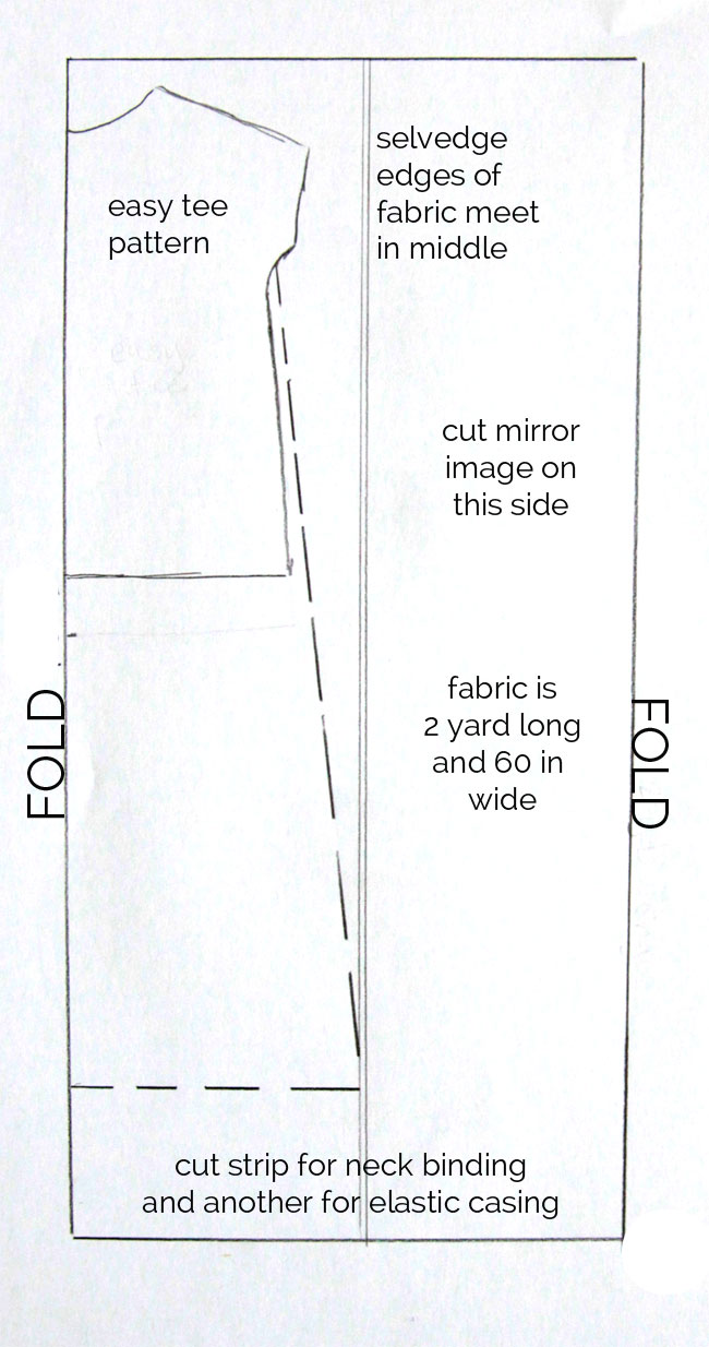 Cutting diagram for the easy tee maxi dress