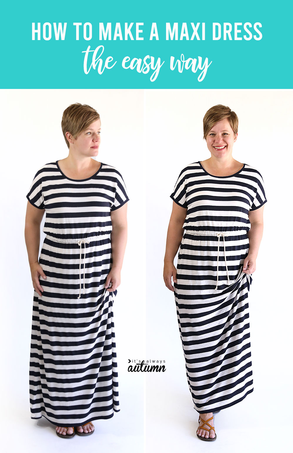 How to sew a maxi dress without a pattern. This is the easiest possible way to make a maxi dress!