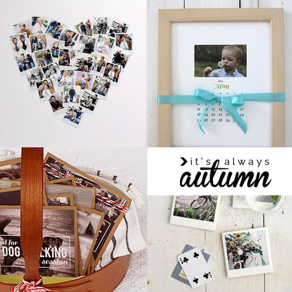 Collage: photos in the shape of a heart; photo calendar; photo coupons in a basket, photo coasters