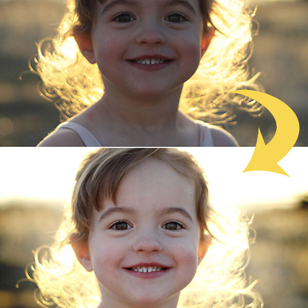 A little girl smiling at the camera and a brightened version of the same photo