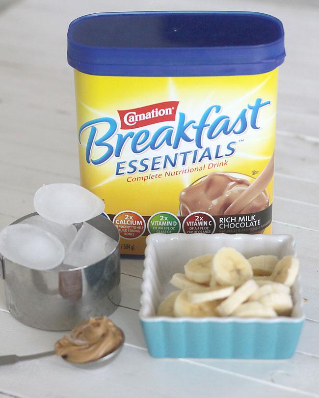 Carnation breakfast essentials; ice, peanut butter; banana