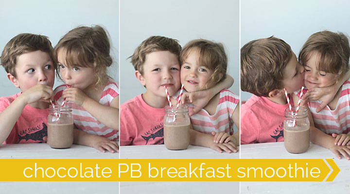 A little boy and girl sharing a chocolate smoothie
