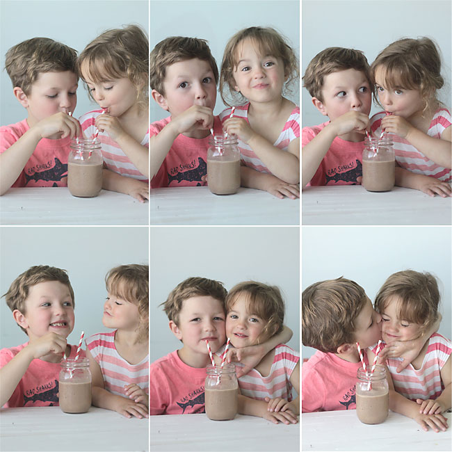 brother and sister drinking chocolate peanut butter breakfast smoothie