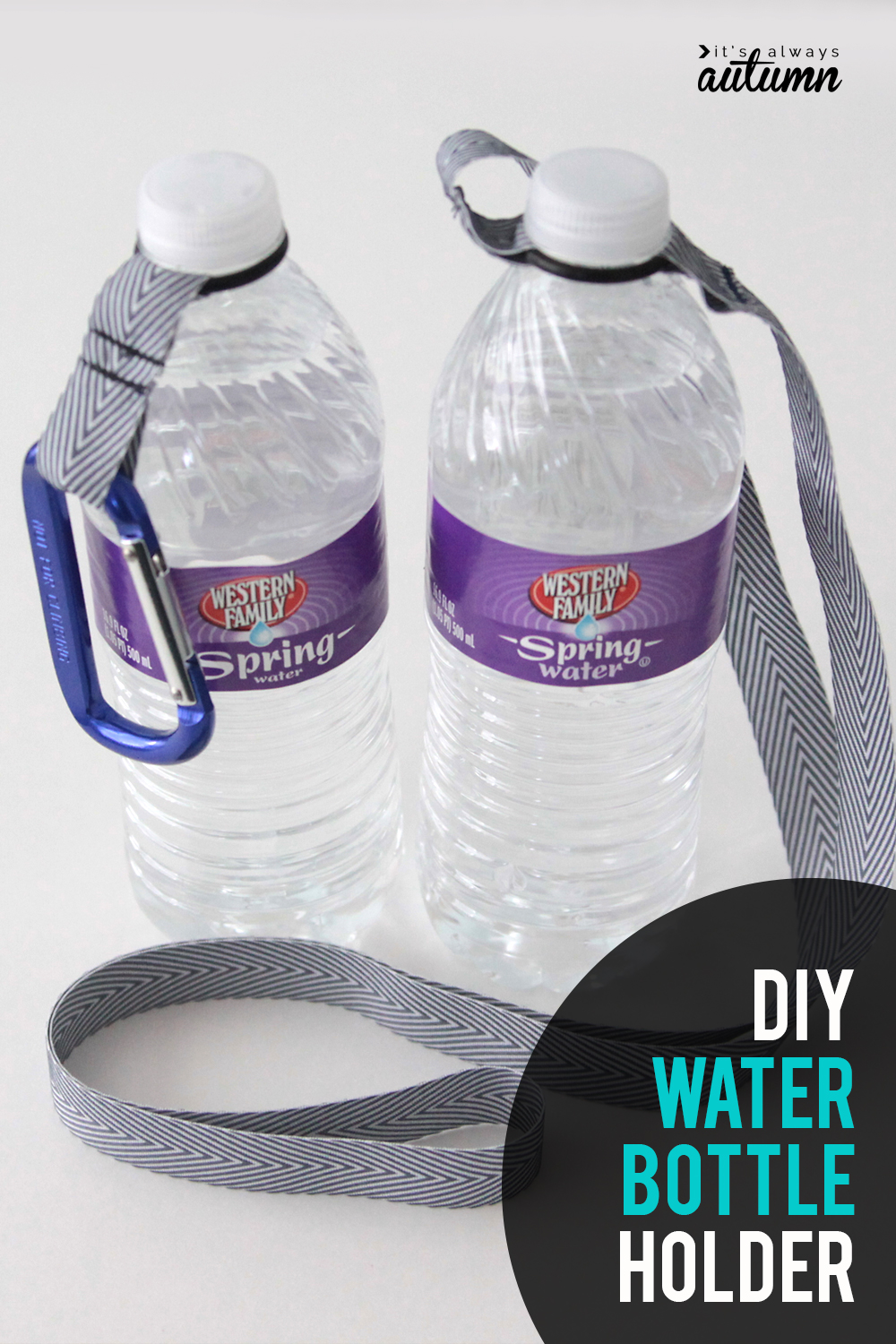 This easy DIY water bottle holder is so handy! Stay hydrated with a water bottle carabiner.