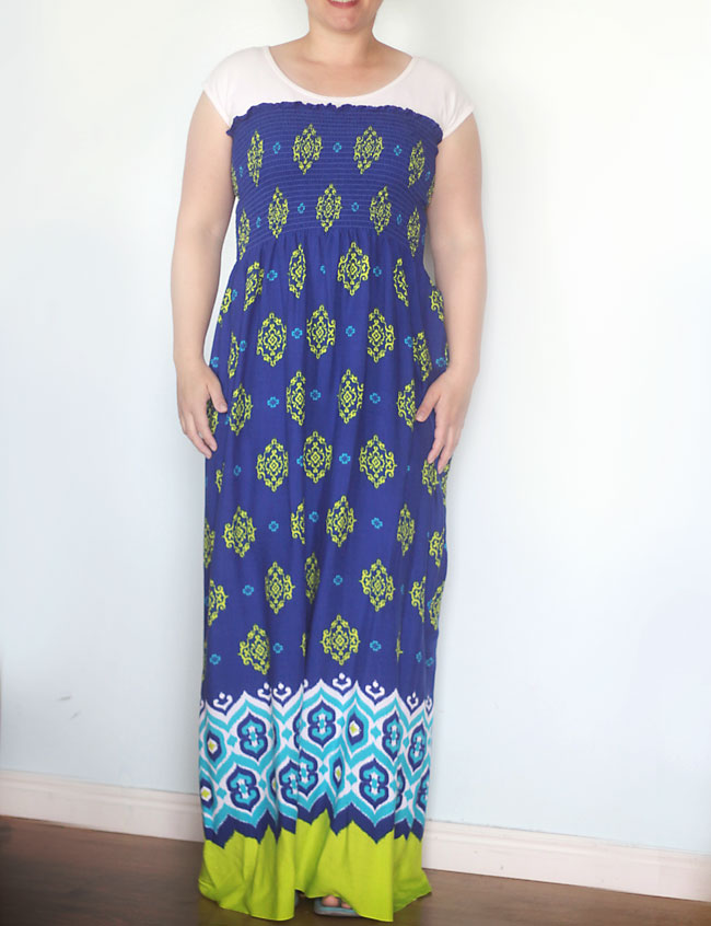 you can make this gorgeous maxi dress by sewing just one seam! click through for easy sewing tutorial.