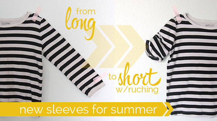 easy DIY tutorial for turning long sleeves into short ruched sleeves