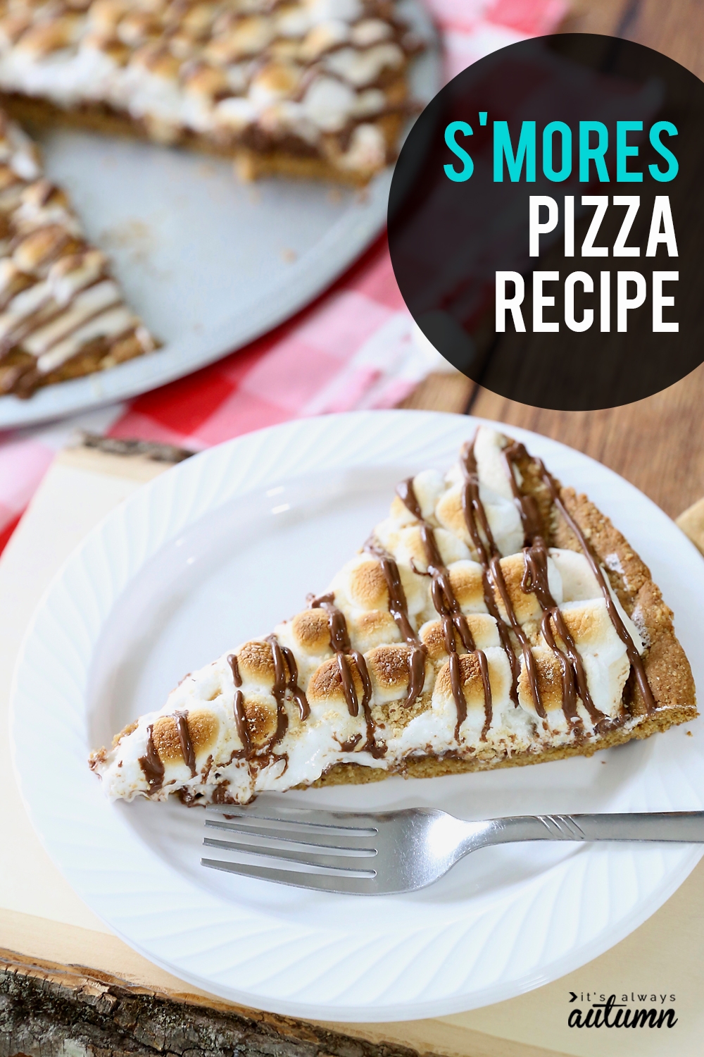 S'mores pizza is the best way to get your s'mores fix without a campfire! Made in the oven with tons of chocolate and marshmallows and a delicious graham cracker crust, smores pizza is the perfect summer dessert for a crowd.