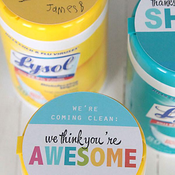 Teacher appreciation gift Lysol wipes
