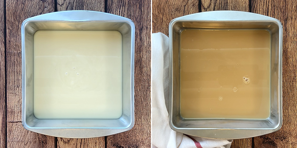 Sweetened condensed milk in pan before and after baking, turned caramel colored after