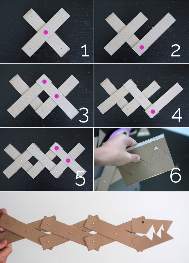 Cardboard strips layered and attached in accordian shape