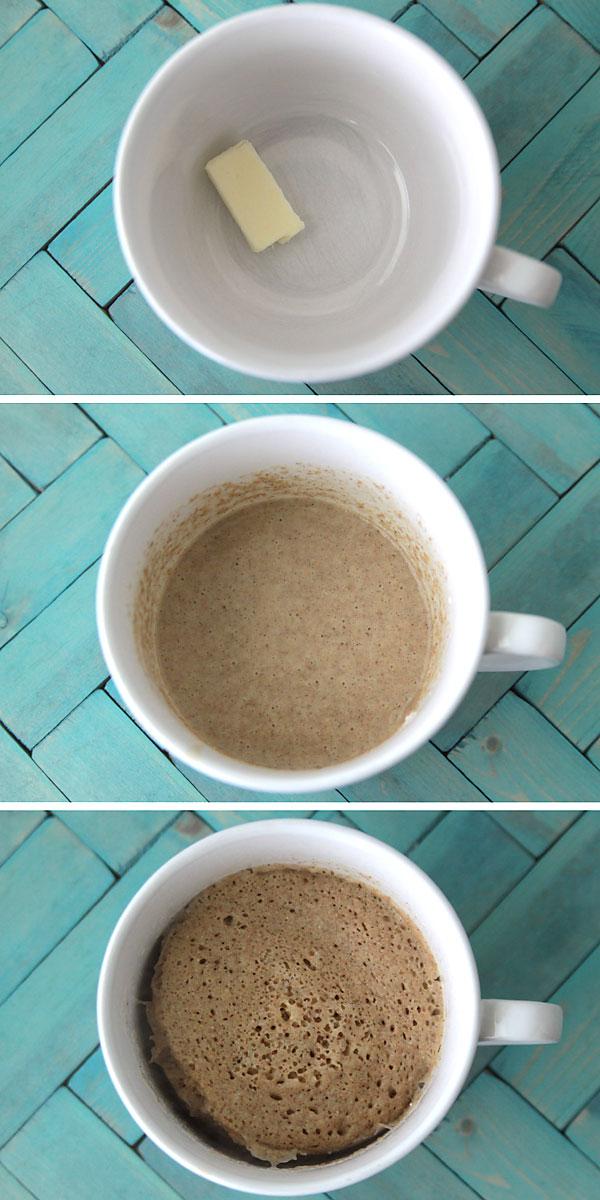 Mug with butter; mug with batter; mug with cooked muffin in it