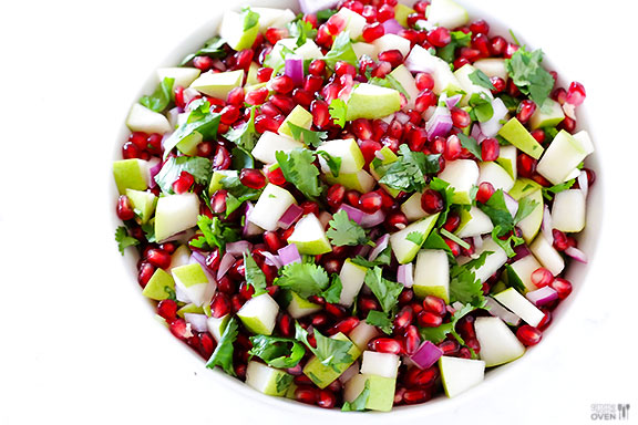 pear and Pomegranate salsa in a bowl